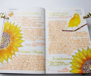 art, sunflowers, and butterfly image