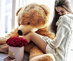 flowers, teddy bear, and gift image
