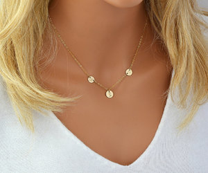 rose gold, delicate necklace, and rosegold image