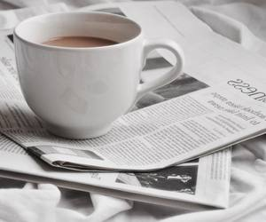coffee, newspaper, and instagram image