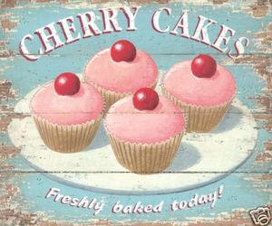 cake, cherry, and cupcake image