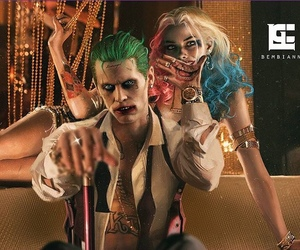 harley quinn, jared leto, and margot robbie image