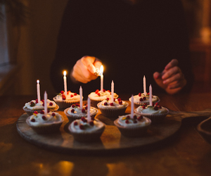 birthday, cupcakes, and night image