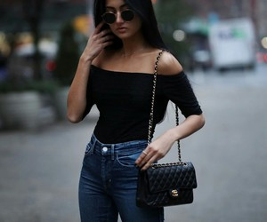 black top, blogger, and chanel image