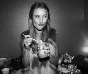 black and white, girl, and food image