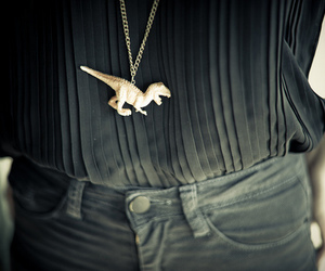 dinosaur, black, and necklace image