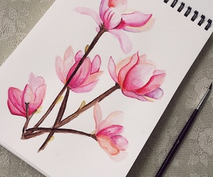 flowers, painting, and pink image