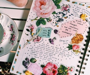 art, flowers, and journal image