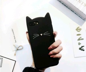 black, cat, and iphone image