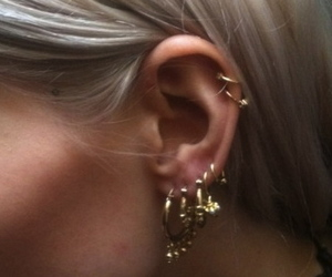 ear, piercing, and cute image