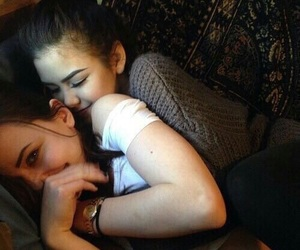 cuddles, cute couple, and girls image
