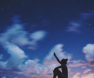 sky, stars, and girl image