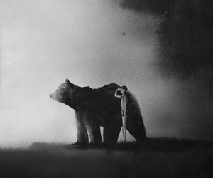 bear, art, and black and white image