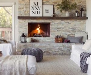 home, interior, and fireplace image
