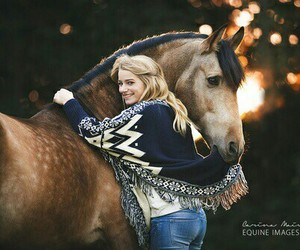 horse, girl, and hug image