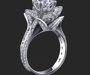ring, diamond, and rose image