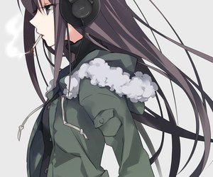 anime, anime girl, and headphones image