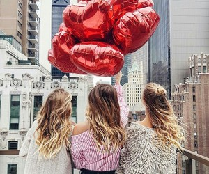 girl, balloons, and bff image