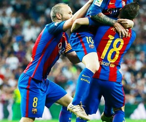 alba, messi, and iniesta image