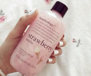 pink, strawberry, and bath image
