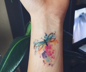 art, colors, and dragonfly image