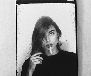 girl, cigarette, and b&w image