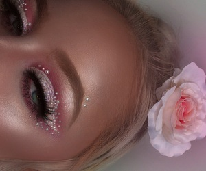 cake face, makeup, and pearls image