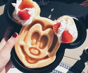 food, mickey mouse, and strawberry image