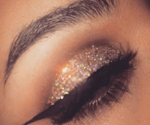 makeup, eyeliner, and glitter image