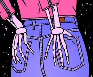 pink, jeans, and skeleton image