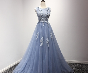 dress, dusty blue, and evening dress image