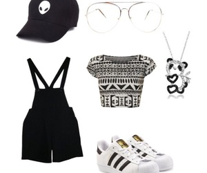 adidas, overall shorts, and black image