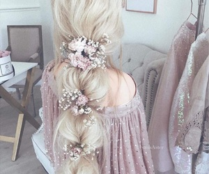hair, flowers, and style image