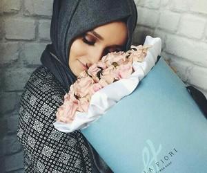girl, hijab, and flowers image