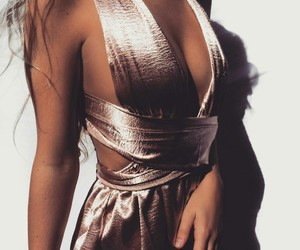 dress, cut outs, and metallic image
