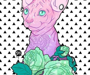 cat, digital art, and flowers image