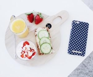breakfast, phone case, and blue polka dots image
