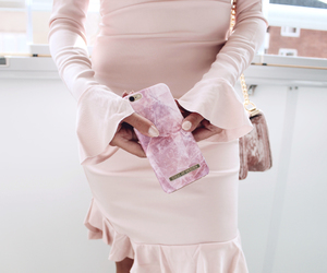 marble, pink case, and pink dress image