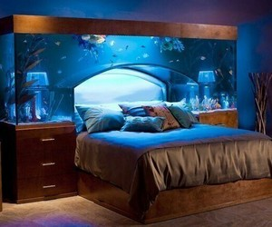 aquarium, bedroom, and style and decor image