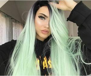 beautiful, green, and hair image