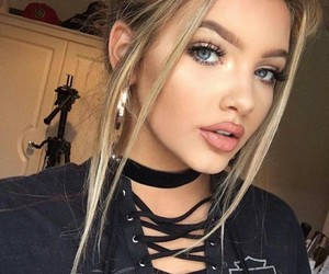 black, lips, and blonde image