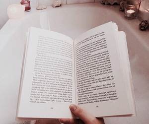 book, bath, and reading image