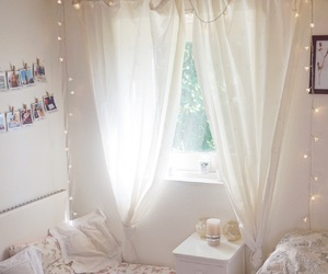 bed, decor, and flowers image
