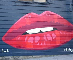 lips, lipstick, and painting image
