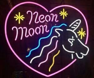 moon, neon, and unicorn image