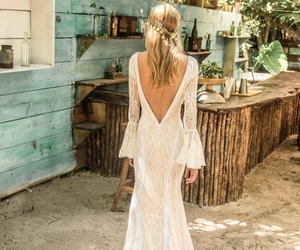 bohemian, bride, and dress image