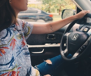 cute couple, driving, and fashion image
