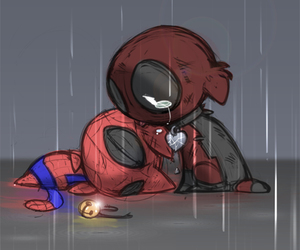chibi, deadpool, and sad image
