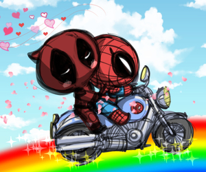 chibi, deadpool, and spiderman image