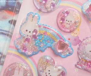 kawaii, stickers, and bunny image